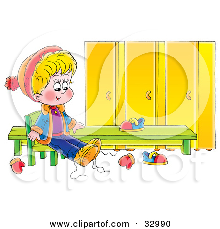 Boy Putting On Shoes Clipart.