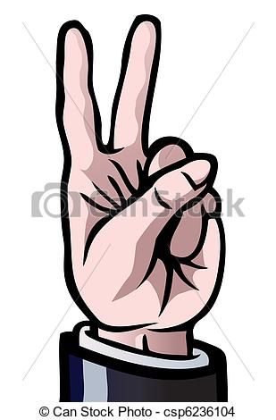 EPS Vector of Two fingers up.