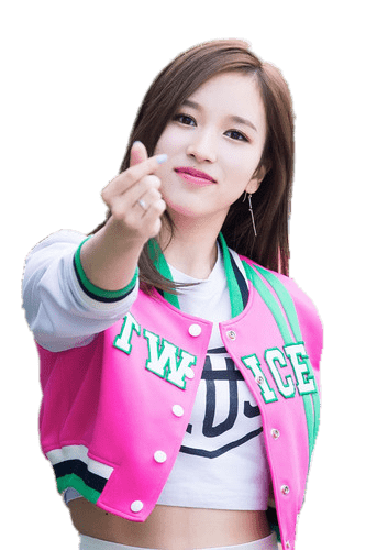 Twice Mina Making Love Sign transparent PNG.