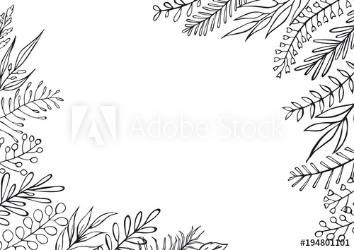 black and white floral hand drawn farmhouse style outlined.