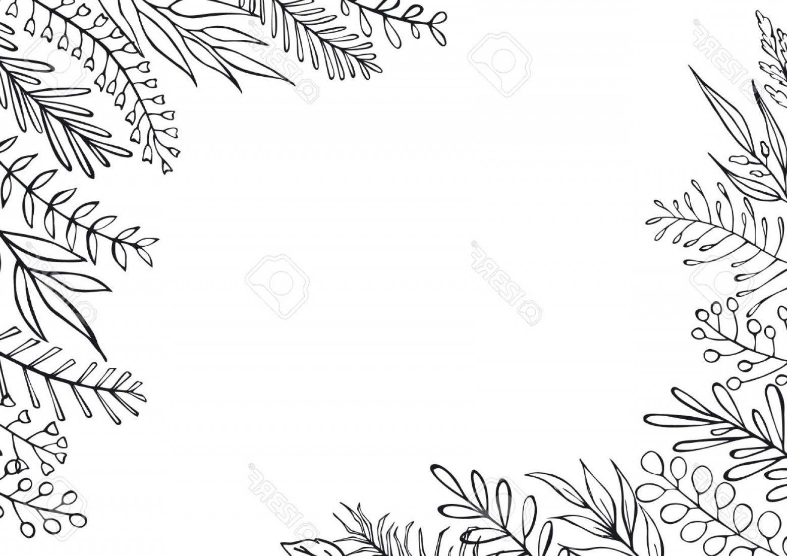 Photostock Vector Black And White Floral Hand Drawn.