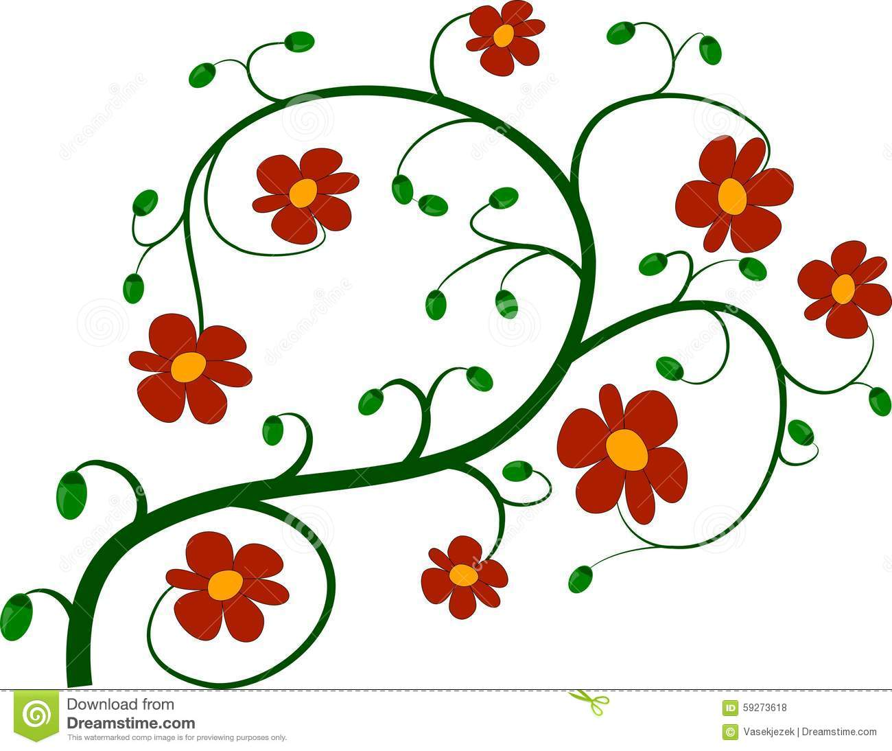 Green Twig And Red Flowers Stock Illustration.