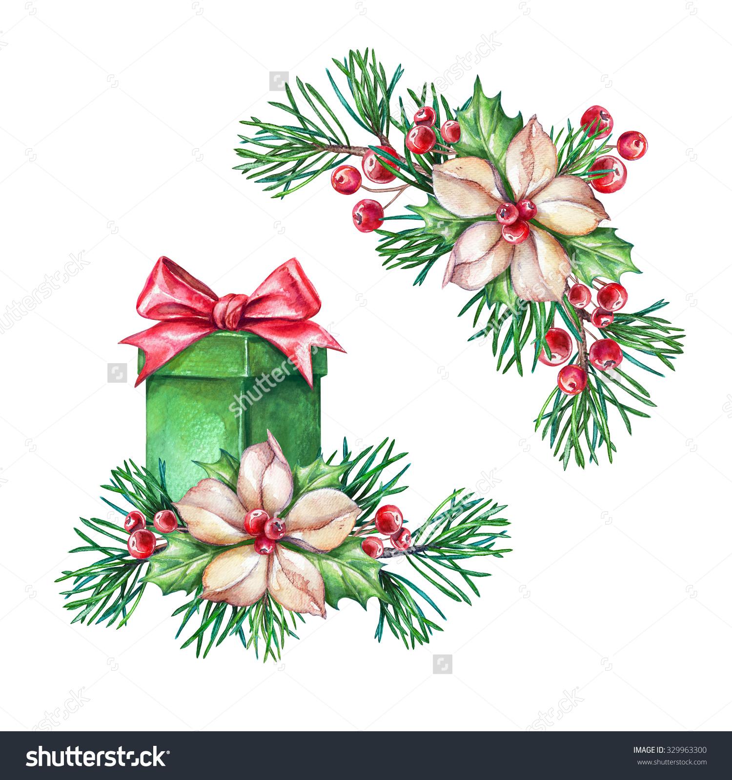 Christmas Gift, Coniferous Twigs, Poinsettia Flowers, Design.