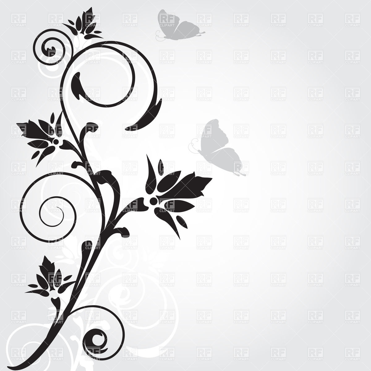 Silhouette of twig with curls and flowers Vector Image #21934.