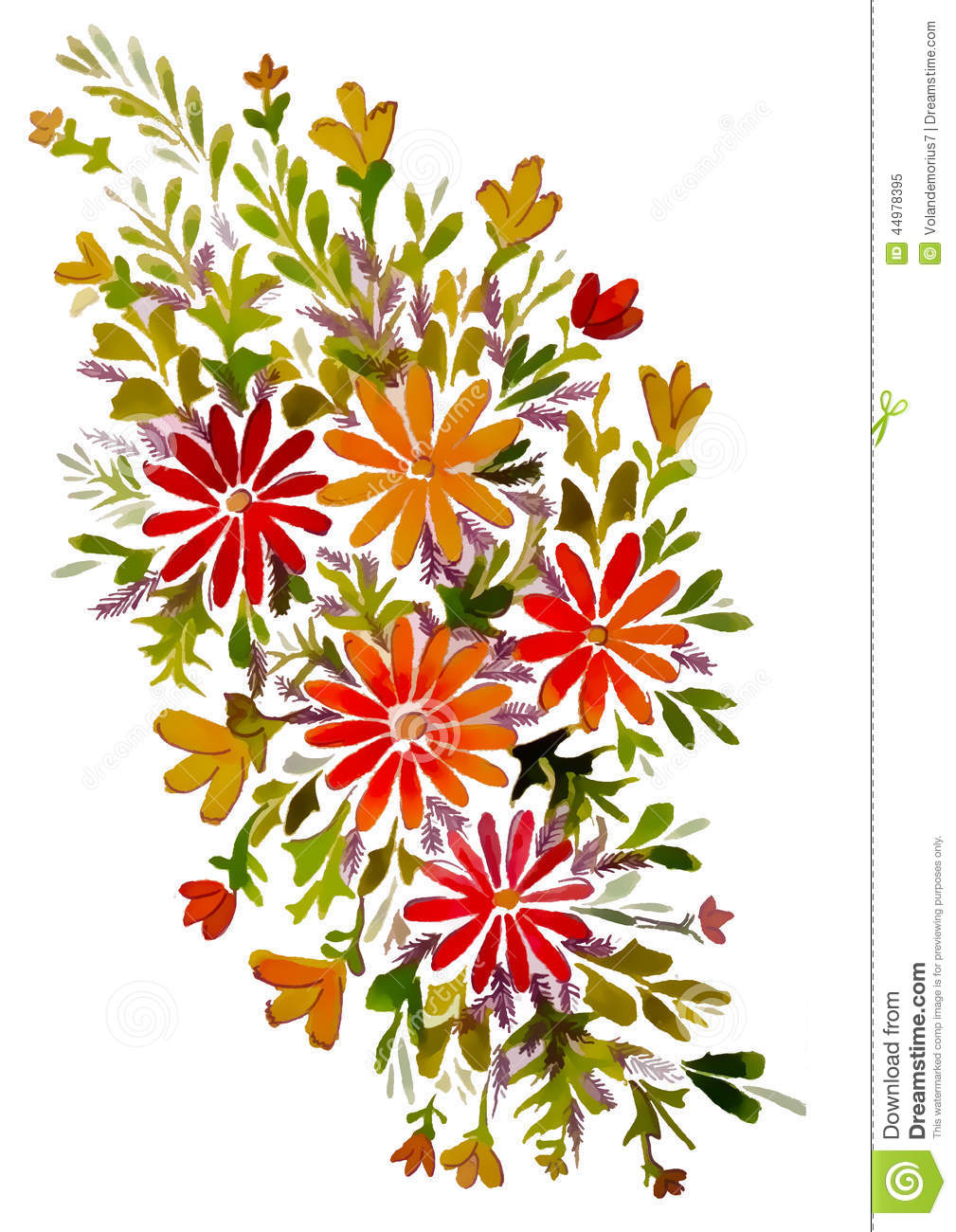 Twig With Flowers Of Different Sizes Stock Illustration.