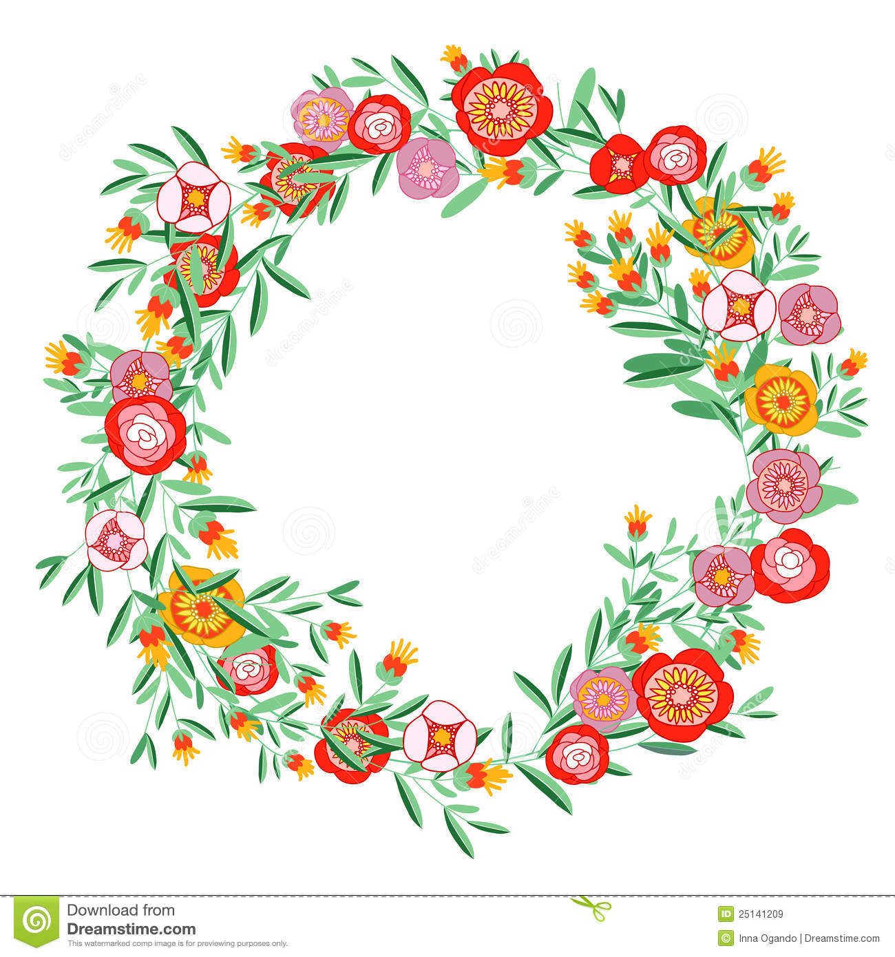 Coral floral twig wreath clipart.