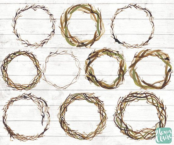 Twigs wreaths clipart.