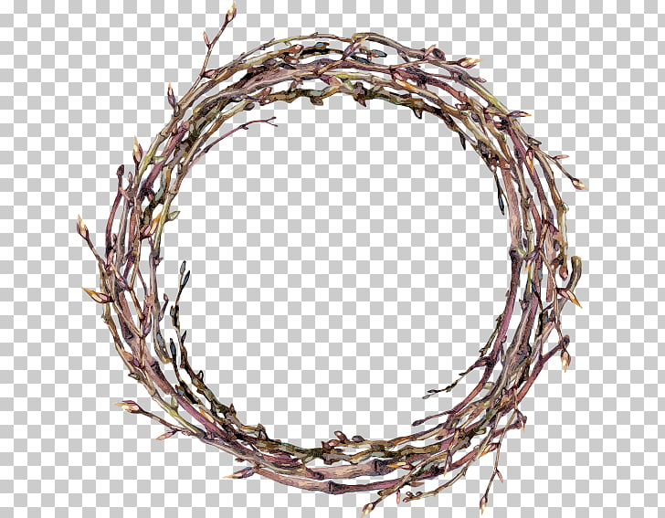 Twig Wreath Watercolor painting, garland, brown plant wreath.