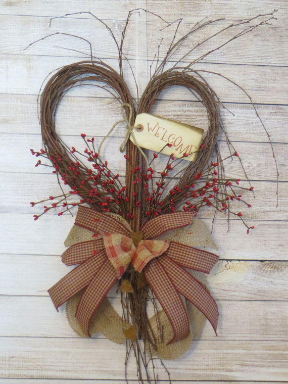 Primitive Heart Rustic Heart Twig Heart Rustic by Dazzlement.