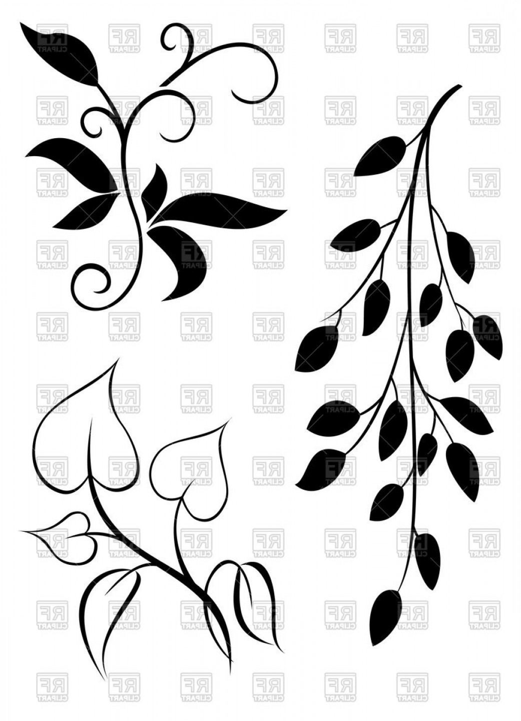 Silhouettes Of Elegant Twigs And Leaves Vector Clipart.