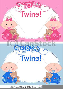 Twin Baby Girls Clipart.