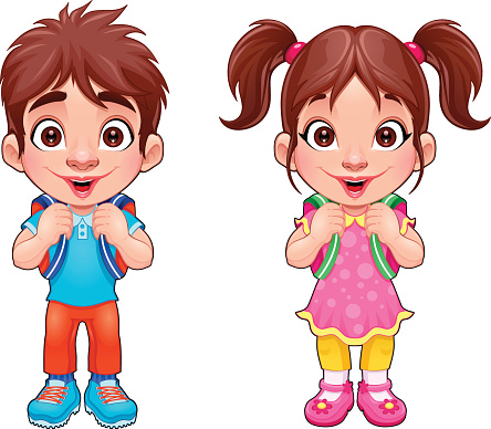 Boy And Girl Twins Clipart.