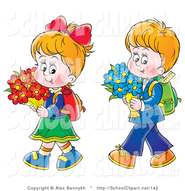 Clip Art of a Little Twin Boy and Girl Walking Home from School.