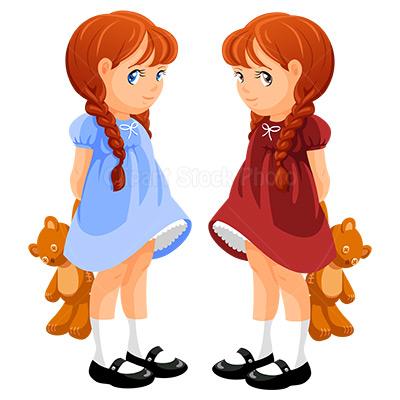 Twin Girls Clipart.