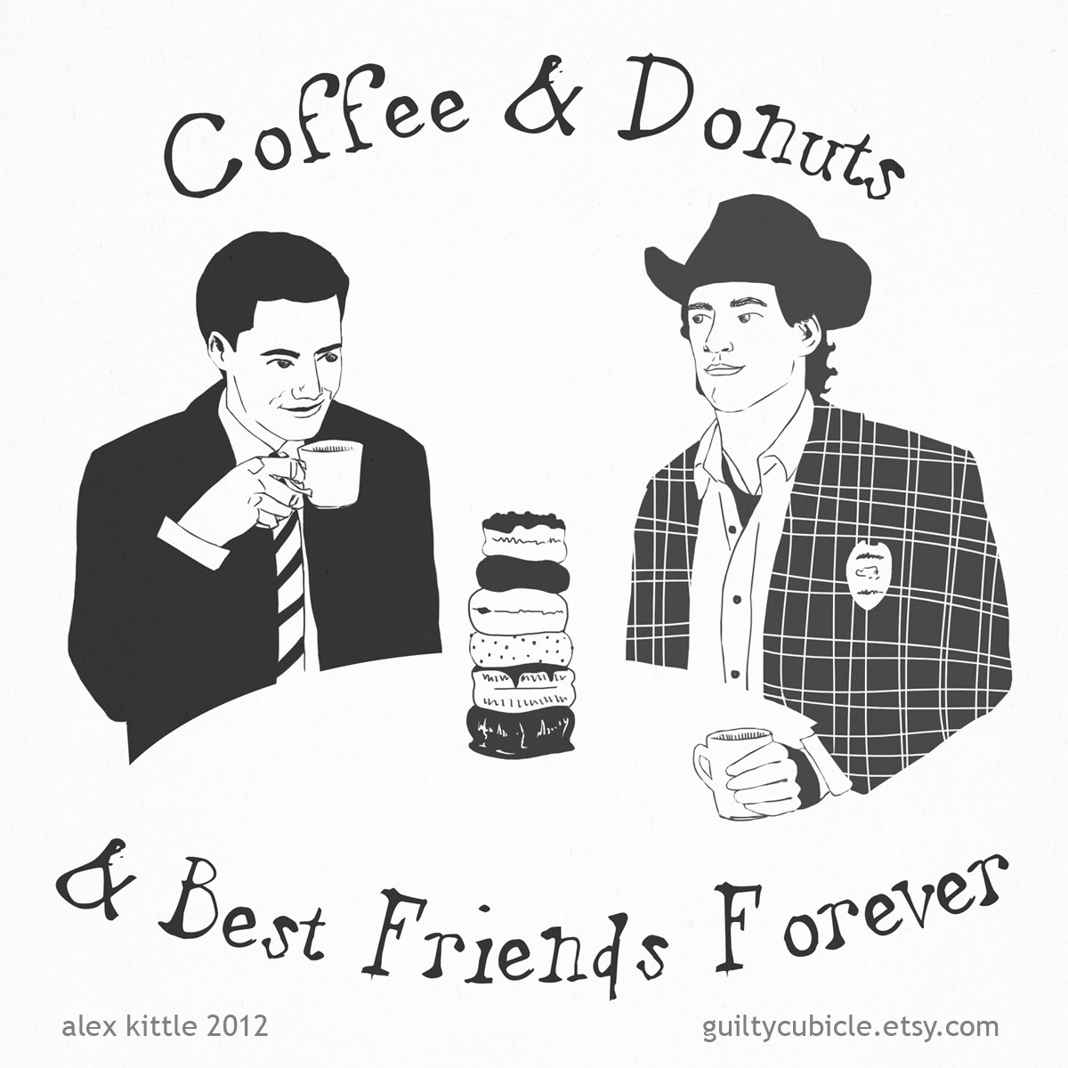 TWIN PEAKS Agent Dale Cooper and Sheriff Harry Truman Small Print.