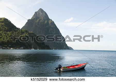Stock Photograph of Caribbean Sea native fishing boat with view.