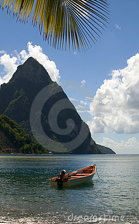 Soufriere St. Lucia Piton Peaks Fishing Boat Royalty Free Stock.