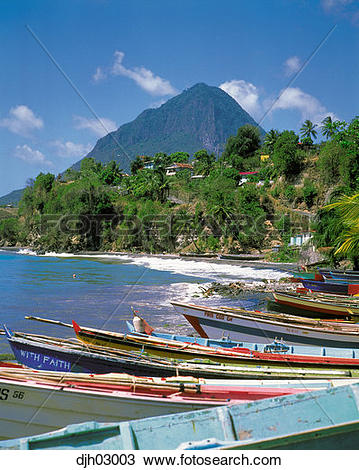 Stock Photo of The Pitons and Choiseul Bay, St. Lucia, West Indies.