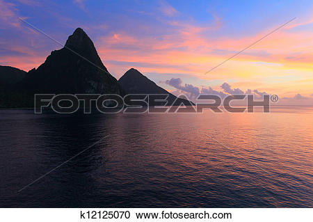Stock Photography of st lucia pitons at sunset k12125070.