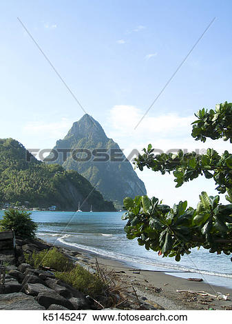 Picture of Caribbean Sea view twin piton peaks and volcano.