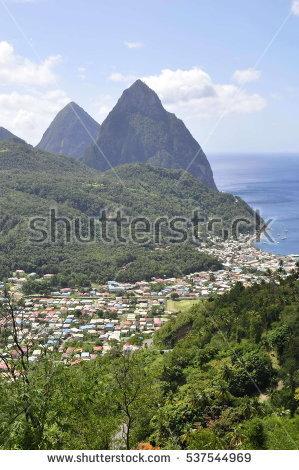 Saint Lucia Pitons Stock Photos, Royalty.