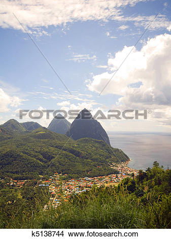 Stock Photo of panorama twin Pitons Soufriere St. Lucia k5138744.