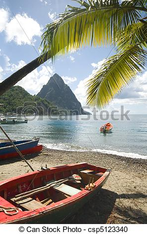 Stock Photography of St. Lucia island view of famous twin piton.