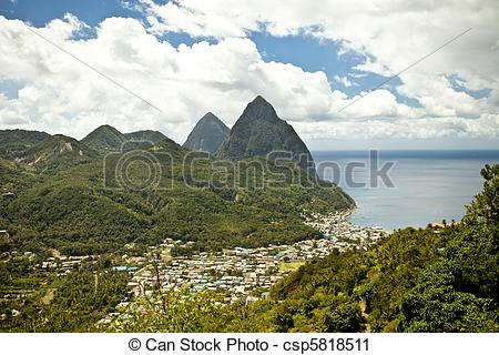 Stock Photography of soufriere, st lucia.