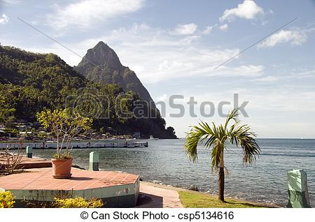 Stock Image of garden in Waterfront Park Soufriere St. Lucia with.