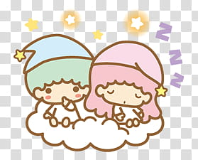 Little Twin Stars, sleeping transparent background PNG.
