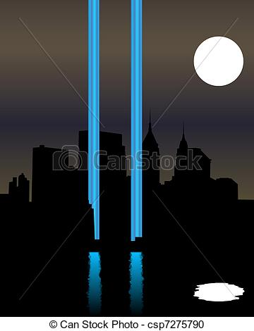 Vector Clipart of Twin Towers Memorial.