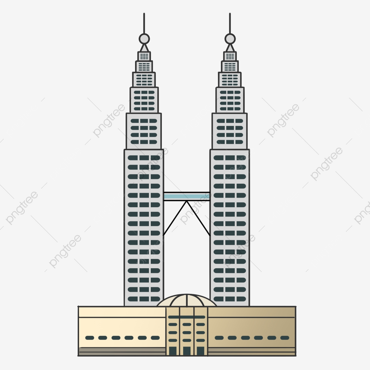 Hand Painted Tourism Scenic Building Malaysia Twin Towers.