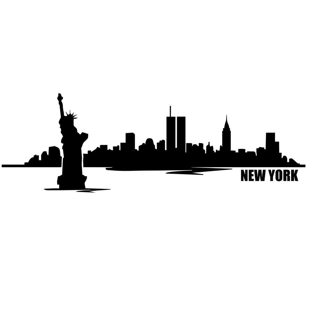 New York City Skyline Silhouette With Twin Towers.