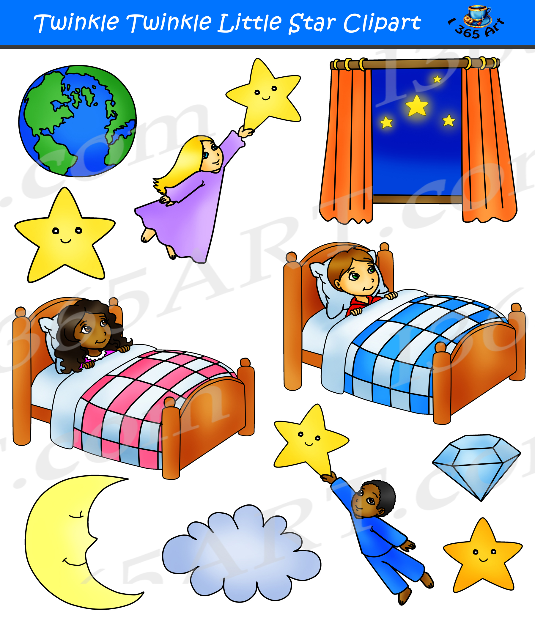 Twinkle Twinkle Little Star Clipart Set.
