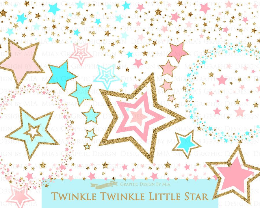 Pink Light Blue Gold Stars, Gold Glitter, Star Digital.
