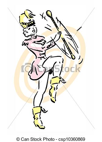 Stock Illustration of A portrait of a girl performing baton.