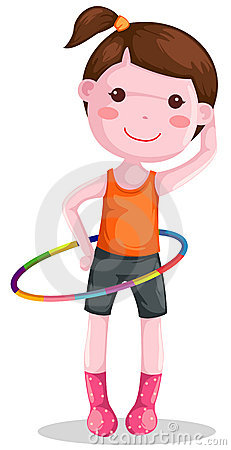Girl Twirling Hula Hoop Royalty Free Stock Images.