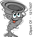 Clipart of a Grayscale Twister Tornado.