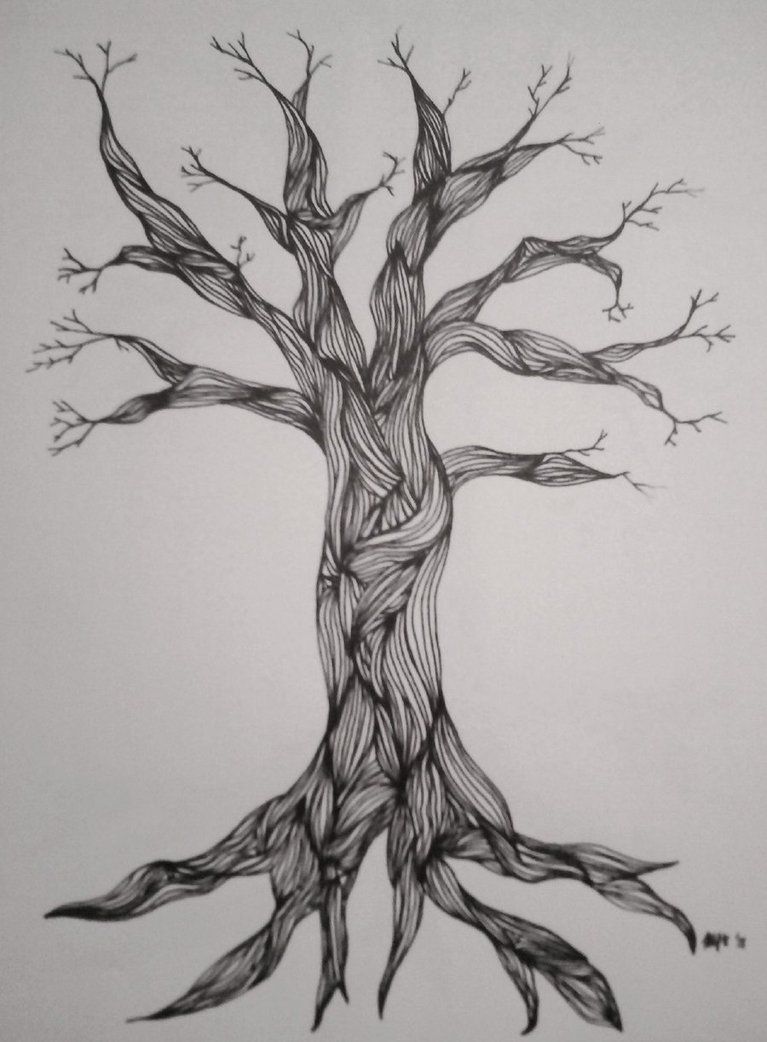 Clipart Of A Twisted Tree.
