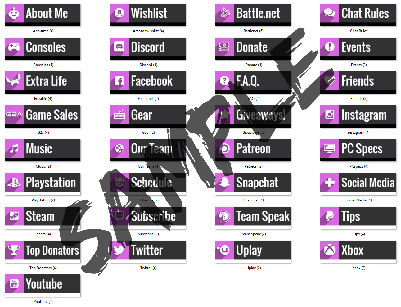 Free Pink Twitch info panel starter pack.