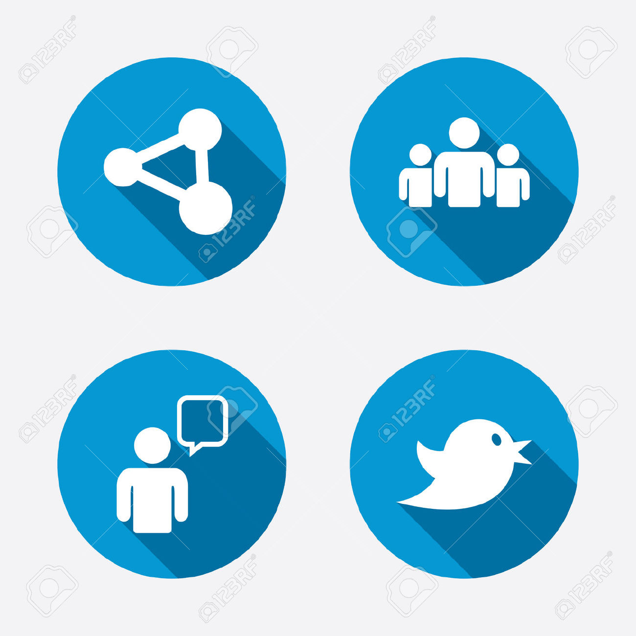 Group Of People And Share Icons. Speech Bubble And Twitter Retweet.