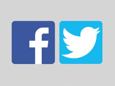 Facebook and Twitter logo Sketch freebie.