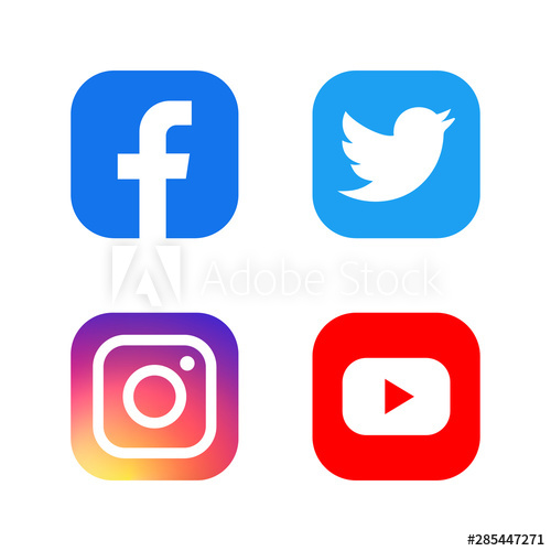 Set of facebook twitter instagram and youtube icons. Social.