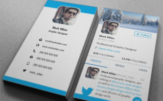 design twitter style business card.