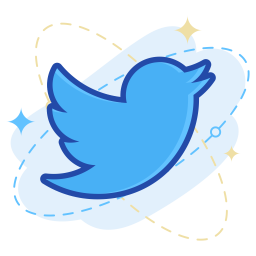 Twitter Logo Icon of Colored Outline style.
