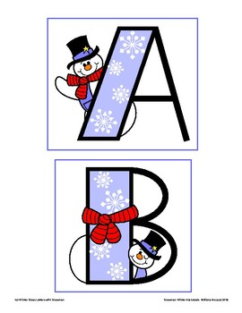 Snowman Winter Alphabets for Bulletin Boards and More.