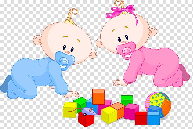 Two babies crawling illustration, Boy Infant Twin , baby.