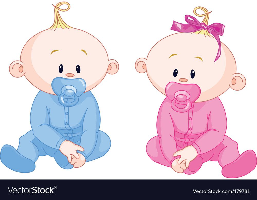 Two babies Royalty Free Vector Image.