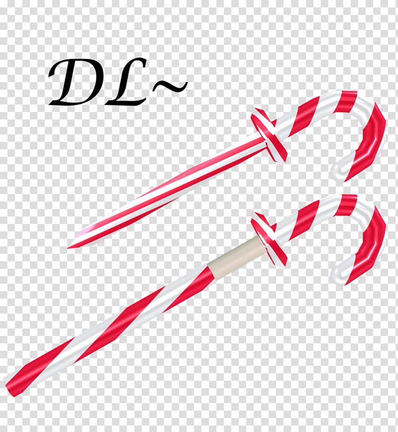 Candy Cane Sword dl, two red.