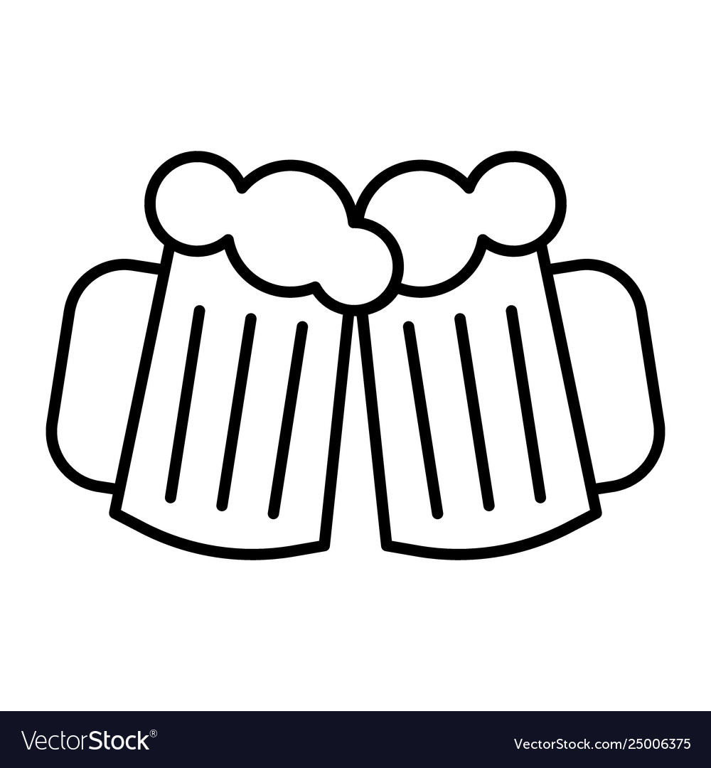 Two glasses beer thin line icon cheers beer.